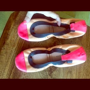 Pink and nude ballet flats